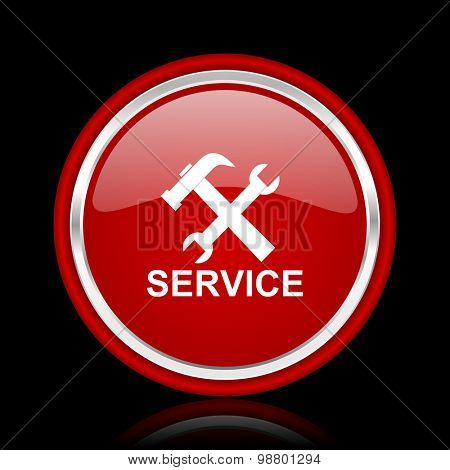 service red glossy web icon chrome design on black background with reflection