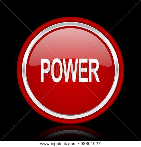 power red glossy web icon chrome design on black background with reflection