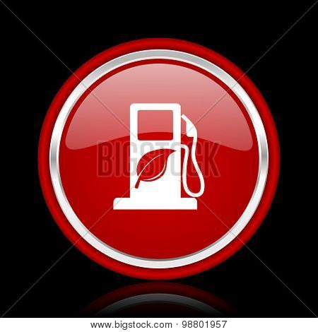 biofuel red glossy web icon chrome design on black background with reflection