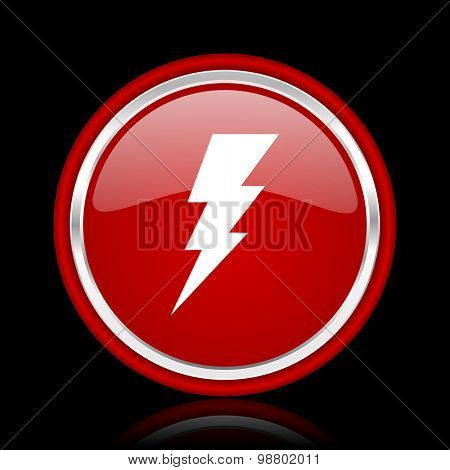 bolt red glossy web icon chrome design on black background with reflection