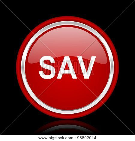 sav red glossy web icon chrome design on black background with reflection