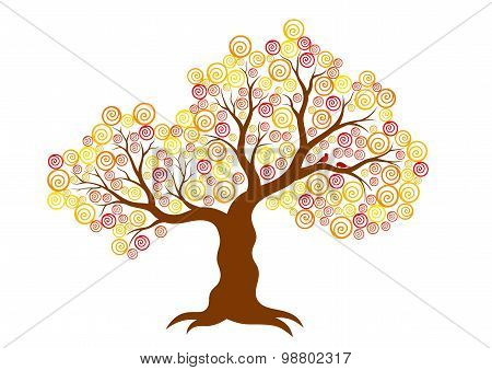 Vector illustration of abstract autumn tree on white background