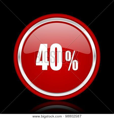 40 percent red glossy web icon chrome design on black background with reflection