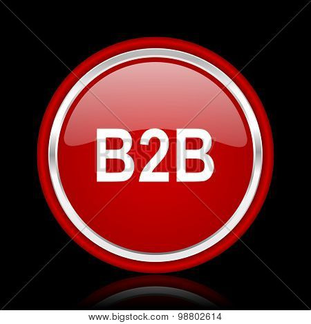 b2b red glossy web icon chrome design on black background with reflection