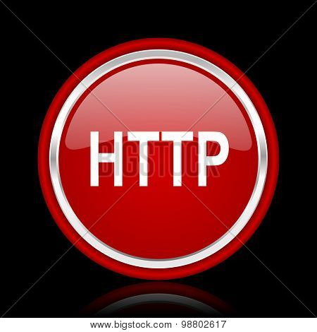 http red glossy web icon chrome design on black background with reflection