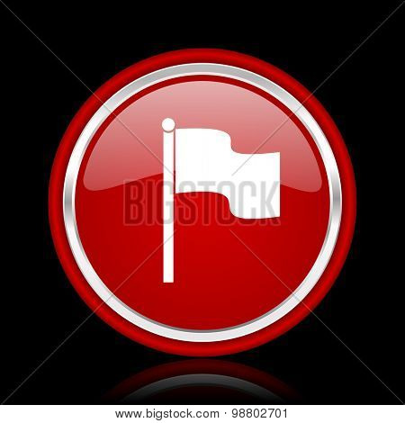 flag red glossy web icon chrome design on black background with reflection