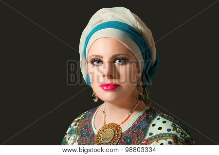 Portrait Of Beautiful  Woman With Turban