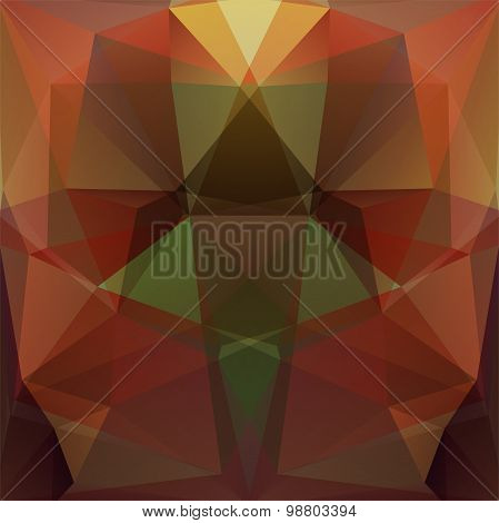 Abstract Background Consisting Of Triangles, Brown, Green Colors