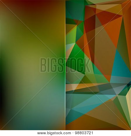 Abstract Background Consisting Of Green, Brown, Blue Triangles