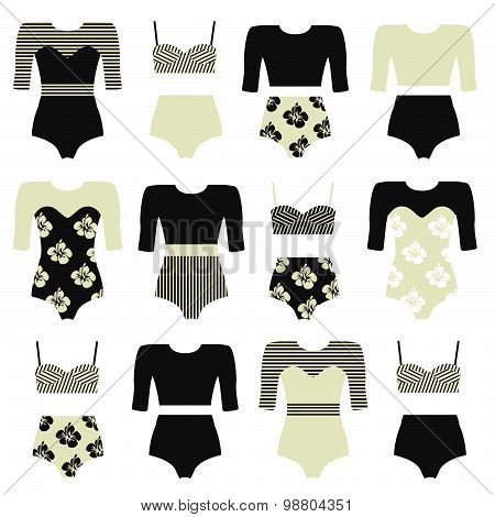 Vector set of vintage surfing swimsuits
