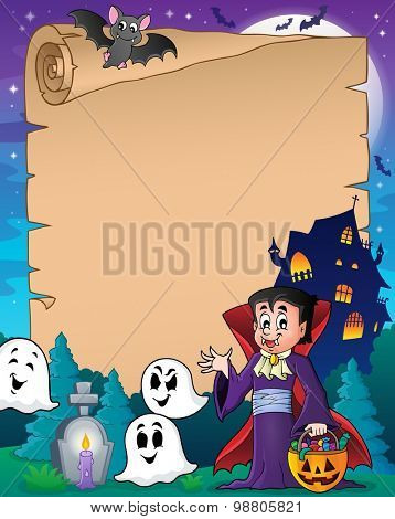 Parchment with Halloween vampire - eps10 vector illustration.