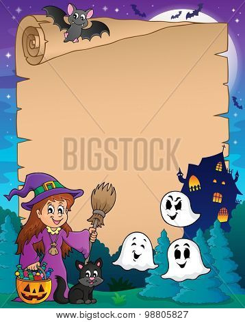Parchment with cute witch and cat - eps10 vector illustration.