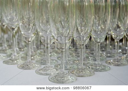 Row Of Empty Glass On The Table