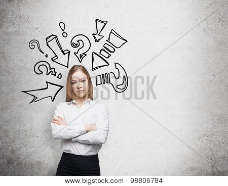 Thoughtful Beautiful Lady Is Trying To Find A Right Solution. Question Marks And Arrows Are Drawn On