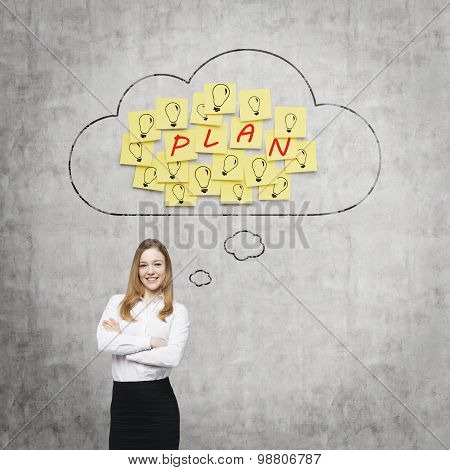 Beautiful Young Lady Is Thinking About Future Business Plans. Clouds And Yellow Stickers With The Wo