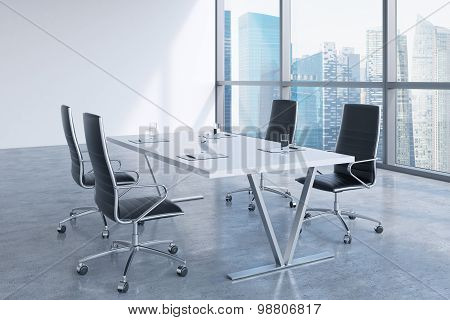 Modern Meeting Room With Huge Windows Looking At Singapore Business City. Black Leather Chairs And A