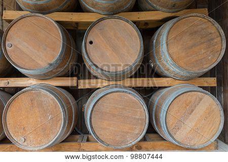 Wooden Barrel Or Oak Barrel In Outdoor