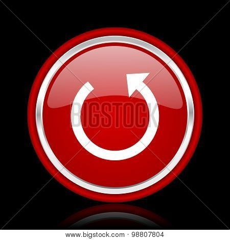 rotate red glossy web icon chrome design on black background with reflection