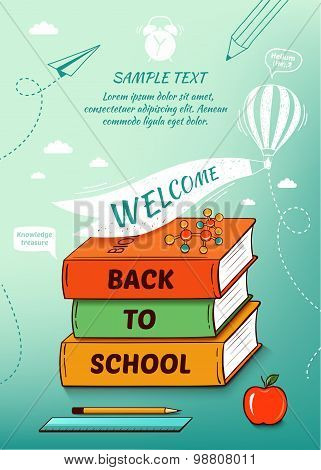 Back to school poster. Vector illustration