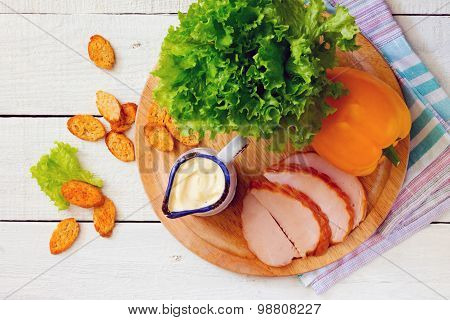 Caesar Salad Dressing And Products Included In The Salad