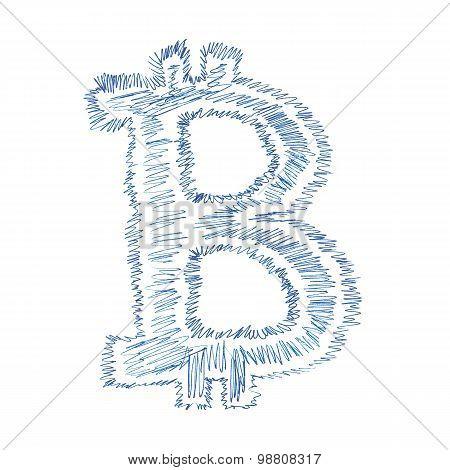 Simple Bitcoin Hand-drawn Symbol