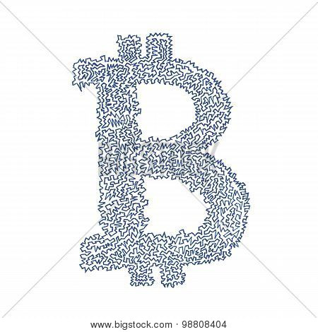 Bitcoin Serrated Hand-drawn Symbol