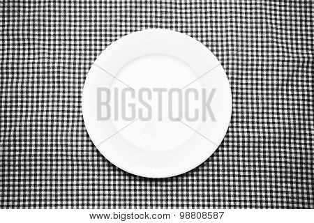 Empty Dish On Kitchen Towel Black And White Color Tone Style