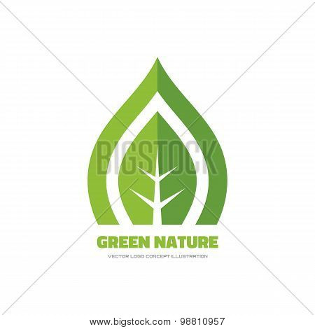 Green nature - vector logo concept illustration. Green leaf logo. Nature logo. Ecology logo.
