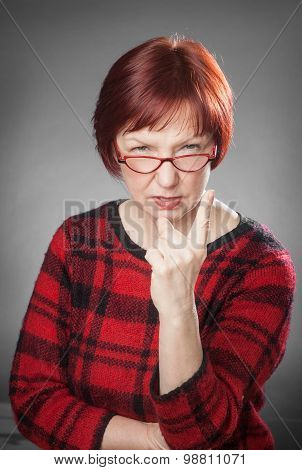 Red-haired Woman, Portrait, Facial Expression, Wag A Finger