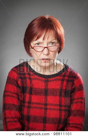 Red-haired Woman, Portrait, Facial Expression, Asking
