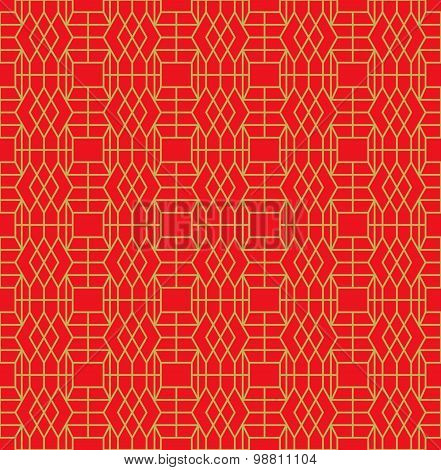 Golden seamless Chinese window tracery geometry square diamond pattern background.