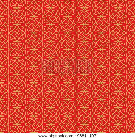 Golden seamless Chinese window tracery spiral square geometry pattern background.