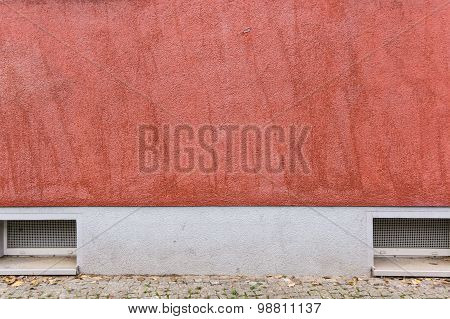 Outside Wall With Red Colored Ornate Plaster, Texture Background