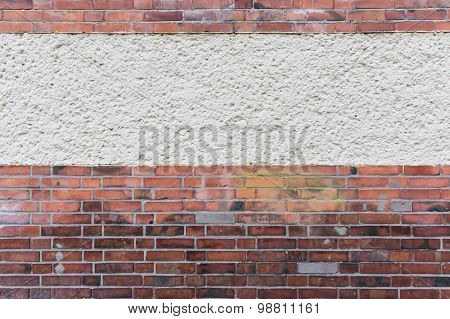 Outside Wall With Plastered Area Between Red Clinker Brick, Texture Background