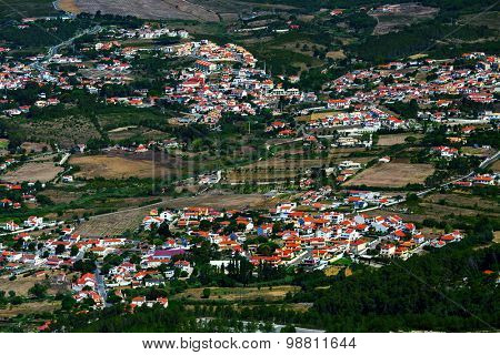 Aerial shot of Portuguese town at sunny day