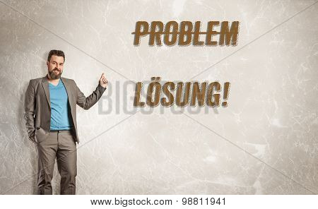 Mature Business Man Pointing Up Towards Text, Problem And Solution