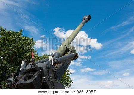 Old Howitzer Gun Barrel Aimed Skyward