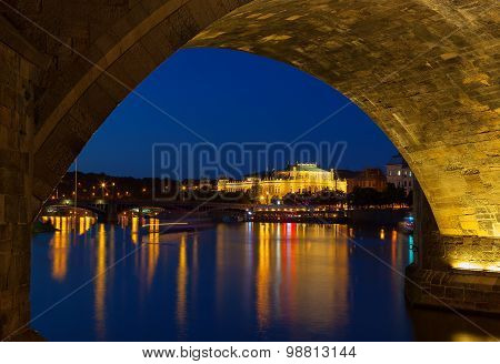 View Of The Rudolfinum Prague At Night