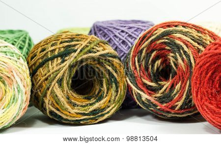 colorful hemp rope rolls , yarn, thread, string for handicraft