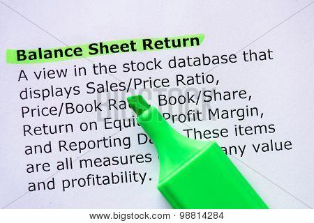 Balance Sheet Return
