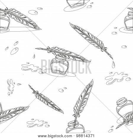 Seamless vector background with inkwell and pen