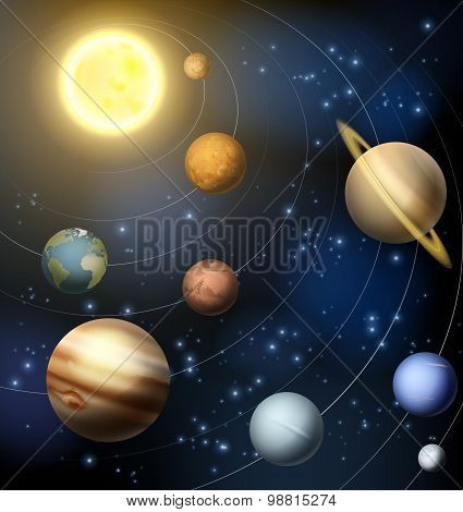 Solar System Planets Illustration