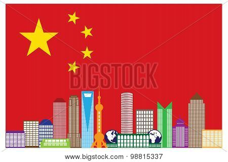 Shanghai City Skyline In China Flag Vector Illustration