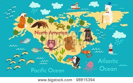 Animals world map North America