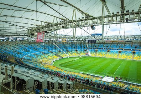 RIO DE JANEIRO, BRAZIL - CIRCA MAY 2014: The Maracana Stadium located in Rio de Janeiro, Brazil.