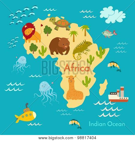 Animals world map Africa.