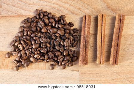 Placer coffee beans and three cinnamon sticks