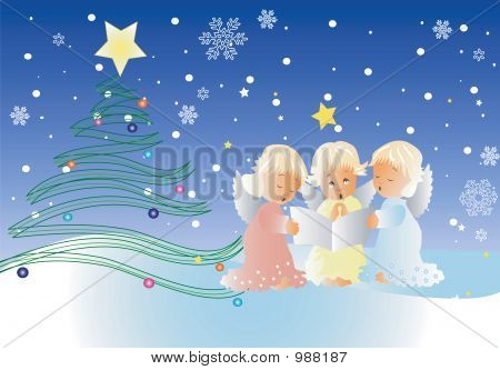 Christmas Scene With Cute Cherubs ,Singing Christmas Carols
