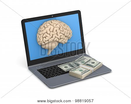 Human brain and big stack of dollars.