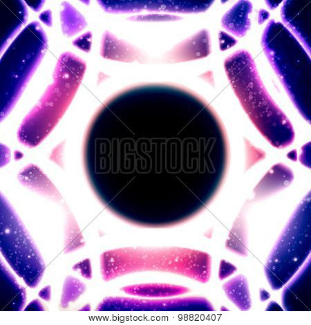 Glowing Mosaic Circles On Starry Space Background